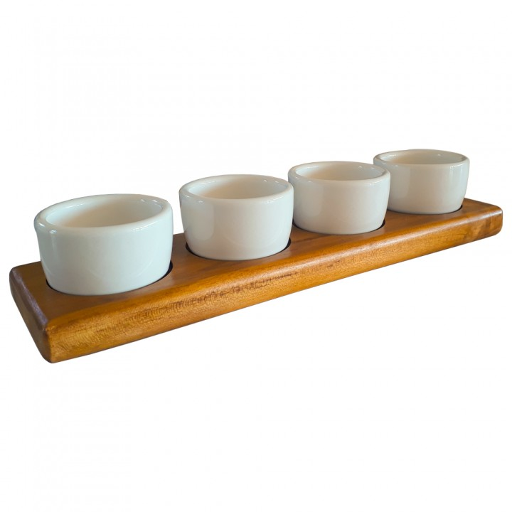 4 compartment teak tray with 4 of 2 Oz. ramekins included
