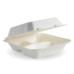 """7.8x8x3"""" Three Compartment Clamshell, Eco-Friendly, Sugarcane Pulp - 100/Case"""