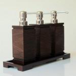 Tray for shampoo dispenser - teak-river motif - rattan brown color