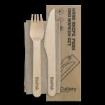 16 cm Knife, Fork & Napkin Set, Wood - 100/Case