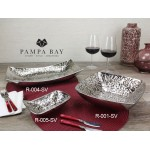 7 oz. Rectangular Porcelain Bowl with Titanium Coating in an Embossed Texture  - 1/Case
