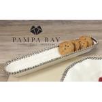 14''x3'' Oblong Porcelain Cracker Tray with Titanium Coating and Beaded Rim  - 1/Case