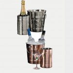 WINE COOLER, HAMMERED, COPPER-PLATED 9-3/8 L X 8 W X 8-3/8 H