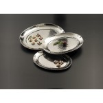 STAINLESS STEEL, HAMMERED TRAY, OVAL, LARGE 20 L X 15-1/2 W X 1-1/8 H
