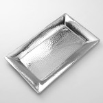 Stainless Steel, Hammered Tray, Rectangular, Large 22 Lx13 Wx1-1/2 H - 6/Case