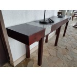 Mahogany console with stainless steel inserts