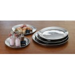 STAINLESS STEEL, HAMMERED TRAY, ROUND, 22 22 DIA. X- 1-1/8 H