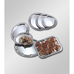 STAINLESS STEEL SERVING TRAY, OVAL, AFFORADABLE ELEGANCE, MEDIUM 12 L X 8 W X 1/2 H