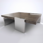 Geometry coffee table. Stained mahogany. Stainless steel. 1200x1200x400 mm