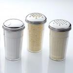Shaker, San Plastic, Heavy-Duty W/X-Large 1/4 Dia. Holes Cheese Top, 12 Oz. 3 Diax5-3/8 H - 12/Case