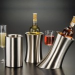 WINE COOLER, STAINLESS STEEL, ANGLED 5-1/4 DIA. X 9-1/4 H