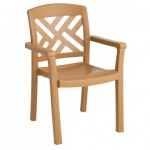 Sanibel Teakwood Stacking Resin Armchair - 1/Case