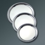 STAINLESS STEEL SERVING TRAY, ROUND, ROYAL TOUCH™, 10 DIA. 10 DIA. X 1/2 H