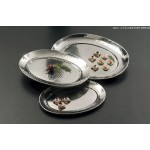 STAINLESS STEEL, HAMMERED TRAY, OVAL, MEDIUM 17-1/4 L X 13-1/4 W X 1-1/8 H