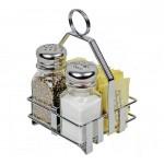 Chrome-Plated Holder for Salt & Pepper Shakers & Sugar Packets
