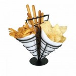 3 Cone French Fry Holder, Wire, Black - 4/Case