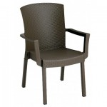 Stacking Armchair Havana Espresso Classic Resin - 1/Case