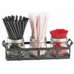 Cal-Mil 3334-13 3 Jar Straw and Stir Stick Holder