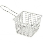 Winco FBM-443S - Stainless Steel 4 Inch Square Mini Fry Serving Basket