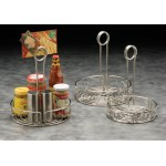 CONDIMENT RACK, STAINLESS STEEL, SCROLL DESIGN, 7-3/4 DIA. 7-3/4 DIA. X 9 H