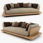 Asian sofa. 3 seater Mahogany, ply.