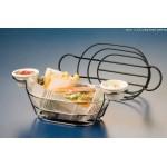 Basket, Oblong Wire Basket W/Remekin Holders, Black 9 Lx6 Wx4 H - 24/Case
