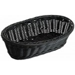 "9"" x 4.5"" x 3"" Poly Woven Baskets, Oval, Black - 6/Case"