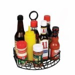 "8.25"" x 6.25"" Oblong Condiment Caddy, Wire, Black - 12/Case"