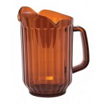 60 Oz Water Pitcher, 3-Spout, Clear Polycarbonate, Amber