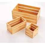 WOODEN CRATE, NATURAL, THIRD-SIZE 12-1/4 L X 6-1/4 W X 6 H