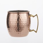 MOSCOW MULE MUG, HAMMERED, COPPER/BRASS, 16 OZ. 16 OZ., 3-3/4 DIA. X 4-3/4 H