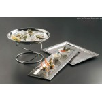 Stainless Steel, Hammered Tray, 16-5/8 L 16-5/8 Lx11-1/4 Wx3/8 H - 4/Case