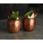 MINI MOSCOW MULE MUG, ANTIQUE COPPER, HAMMERED, 3 OZ. 1-1/2 DIA. X 2 H