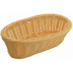 """9"""" x 4.5"""" x 3"""" Poly Woven Baskets, Oval, Natural - 6/Case"""