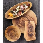 Serving Board, Melamine, Round, Olive Wood 13-1/2 Dia.x1-1/4 H - 12/Case