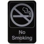 "6"" x 9"" Information Sign, No Smoking, Black - 12/Case"