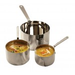 STAINLESS STEEL MINI POT, 27 OZ. 4-3/4 DIA. BOWL X 3 H, 9-1/4 L WITH HANDLE