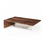 Edge coffee table. Raintree. Clear finish. Stainless steel base. 700x1200x400 mm