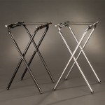 TRAY STAND, METAL, DELUXE, CHROME, BLACK 19-1/2 L X 15 W X 31 H