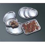 STAINLESS STEEL SERVING TRAY, OVAL, AFFORADABLE ELEGANCE, SMALL 9-1/2 L X 6-3/4 W X 1/2 H