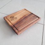 Footed Serving board with ramekins cutout and customization option (restaurant name). Raintree 300x250x40 mm