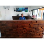 Feature wall panels. Mahogany in teak stain.