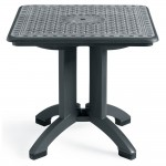 "Toledo 32"" x 32"" Square Resin Folding Table with Umbrella Hole - Charcoal"