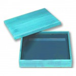 270x200x80 mm Bento Box with Cover, Rustic Blue, Mahogany - 1/Case