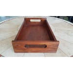 500x300x60 mm Wooden serving tray. Raintree, ply. Light stain and lacquer finish