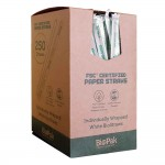 6mm Regular Straw, White, Wrapped, Eco-Friendly, Paper- 250/Case