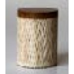 Cotton bud container - teak carving slatted - natural color