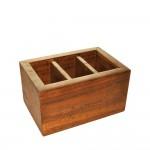 Mid-Century 3 Compartment Wood Flatware Organizer. Fijian Teak