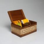 Sugar & coffee box - teak carving slatted - natural color