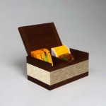 Sugar & coffee box - teak -w/ white coco & MOP inlay - machiato color